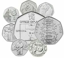 UK 50p BRILLIANT UNCIRCULATED ENGLISH DECIMAL FIFTY PENCE COINS CHOICE OF DATE