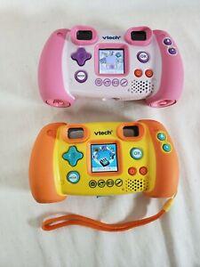 2x Lot: VTech Kidizoom Camera 1.3 Megapixel 4X Zoom - Orange & Pink - Tested