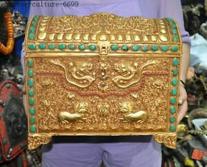 China bronze 24k gold loong dragon lion foo dog Kirin Jewelry box Treasure chest