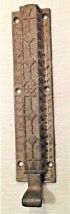 "Antique Vintage 8-1/4"" Victorian Door Lock Cast Iron-Sliding Latch-Surface Mount"