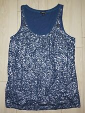 Women's EXPRESS Sequin Tank Top Sleeveless Shirt Scoop Neck Navy Blue L Large