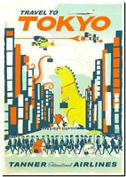 "Cool Retro Travel Poster *FRAMED* CANVAS ART ~Tokyo Godzilla Japan 16""x12"""