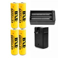 18650 Battery 4pcs 9800mAh 3.7V Li-ion Rechargeable Battery + 1pcs 18650 Charge