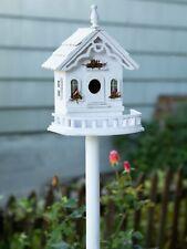 Distressed Shabby White Victorian Pole Stand Patio Bird Seed Feeder Birdhouse