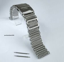 22mm SHARK MESH Polished Stainless Steel, Heavy Duty, Diving, Dive Watch Strap