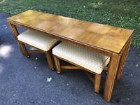 Mid Century Modern Drexel Console Table W/ Stools Consensus Heritage 60's Pecan?