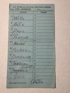 Los Angeles Dodgers Baseball 1969 Game Used Lineup Card Walter Alston Signed 3