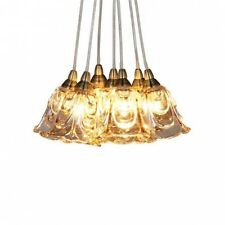 7 Light Champagne Glass Vintage Brass Style Cluster Ceiling Fitting NEW
