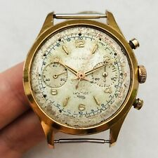 RARE DELTA WATCH CHRONOGRAPH Landeron Vintage Men Gold Plated Wrist Swiss Repair