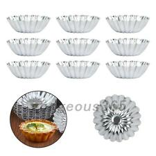 Home 10PCS Egg Tart Aluminum Cupcake Cake Cookie Flower Mold Tin Baking Tool