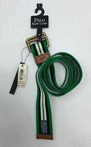 Polo Ralph Lauren Horizontal Striped Braided Belt Men Size Large Green/White