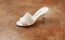 New! Manolo Blahnik 'Iacopo' Double Band Sandals White 9 US 39 Eur. MSRP $645