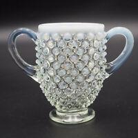 Vintage Glass Fenton Moonstone Hobnail Handled Sugar Bowl 3.25 Tall