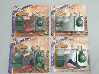 4 Packungen Vintage Plastik-Soldaten mit Panzer & Fahrzeug Hans Postler Figuren