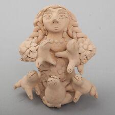 "Irma / Theodora Blanco Signed Oaxacan Folk Art Mexican Pottery ""The Frogs"" 5.75"""