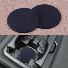 2Pcs Water Cup Mat Auto Car Accessories Slot Non-Slip Carbon Fiber Look Black