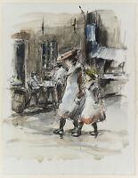 W.GLACKENS(*1870) Umkreis: Spazierende Schwestern, 20.Jhd., Aquarell über Kohle