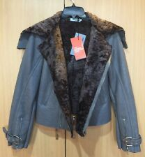 NWT Womens Doma Leather Shearling Zip Up Bomber Moto Jacket Brown Grey Coat M (S
