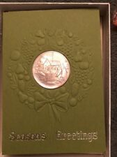 5 Franklin Mint 1972 Season's Greetings Christmas Holiday Cards with Medals