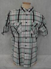 AIRWALK Boys XL Plaid Short Sleeve Button Down Cool Black/White/Mint Green EUC!!