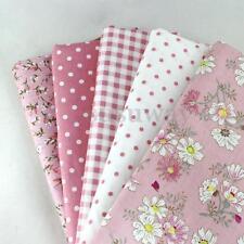 5 PCS Assorted Pre-Cut Plain 100% Cotton Quilt Cloths Fabrics For Sewing Pink