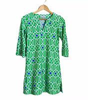 Jude Connally Megan Tunic Dress Size XS Green White V Neck Stretchy Side Slit