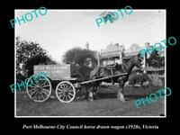 OLD LARGE HISTORIC PHOTO OF PORT MELBOURNE COUNCIL HORSE WAGON c1920, VICTORIA