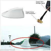 SUV Auto Roof Shark Fin Antenna Aerial FM/AM RV Radio Signal White Universal