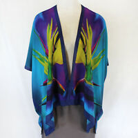NEW Cocoon House Teal Bird Of Paradise 100% Silk Kimono Jacket Large/XL (1X, 2X)