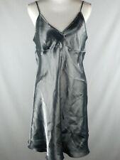 Grey Satin Womens Lingerie Sleepwear Night Gown Babydoll Nightie Sz L Silky