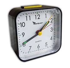 Travelwey Analog Clock No Ticking Alarm Snooze Light Black