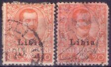 LIBIA ITALIANA - 2 RARI FRANCOBOLLI DA 20 CENT. - 1912