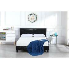 Twin Size Leather Bed Frame Platform Wood Slats Home Bedroom Furniture Black