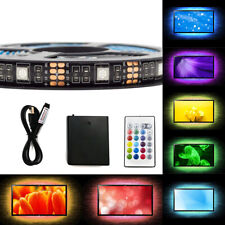 2M RGB LED Strip Lights USB Battery Powered Multi-Color TV Backlights Lamp Home