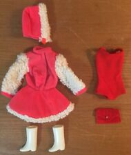 Vintage Barbie Skater Outfit, White Boots, Red Swimsuit, Purse, Hat