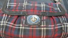 COACH Small Poppy Glam Plaid Tartan Hand Shoulder Bag with Silver Color Hardware