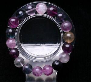 11mm Natural Round Bead Gemstone Rainbow Fluorite Stone Stretchable Bracelet