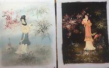 Vintage Asain Geisha Girl Lady Oil Paintings On Unframed Canvas (2)