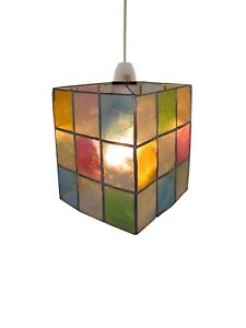 Pendant Shade Multicoloured Silver Square Cube Capiz Shell Tiffany Style Light