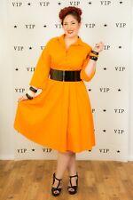 Vintage Vicki Wayne orange shirt dress swing dress rockabilly pin-up