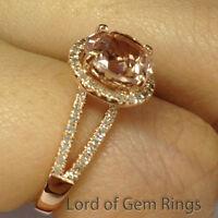 Split Shank 8mm Morganite H/SI Diamonds Engagement Ring Promise,14K Rose Gold