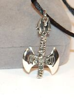"""Sterling Silver Dragon Axe over 1 inch with 28"""" Satin Cord (7000)"""
