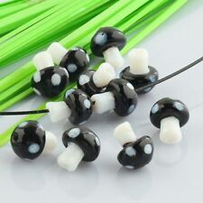 New! Black Style Lampwork Glass Crystal Glass Mushroom Charms Loose Beads