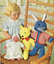 Doll / Teddy Bear and Rabbit DK Toy Knitting Pattern 99p