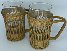 Mid-Century Rattan Barware, set of 2 rattan glass holders with handles
