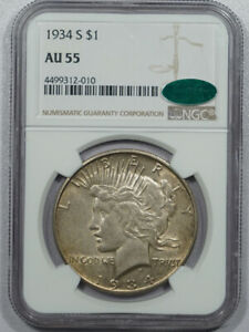 1934-S PEACE DOLLAR - NGC AU-55 FRESH, PREMIUM QUALITY & CAC APPROVED!