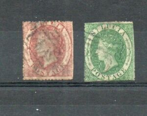 2 very old St Lucia brown & green Victorian issues