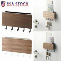 US Wooden Door Hanger Wall Mount Hooks Key Holder Rack Organizer Letter Box Mail
