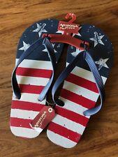 NWT Arizona Jeans Co. flip flops American Flag motif size 9-10