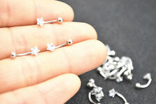 LOT30pcs Star CZ  Eyebrow Rings Tragus Curved Barbell 16g Body Piercing Jewelry